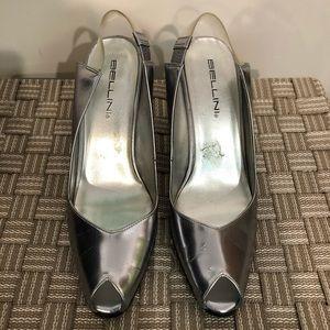 Silver heels size 8